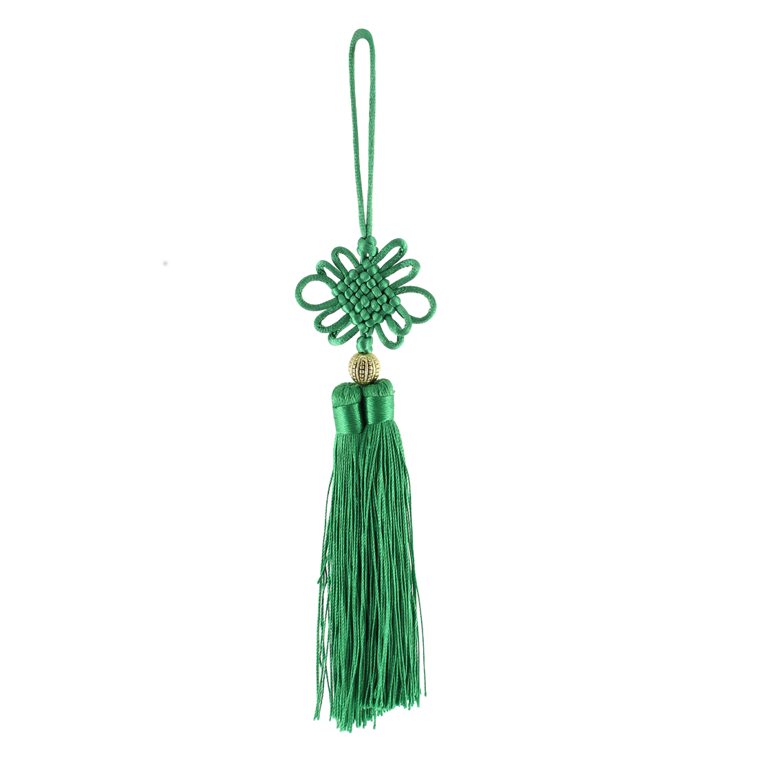 Handmade Green Double Tassel Hanging Chinese Knot Decoration
