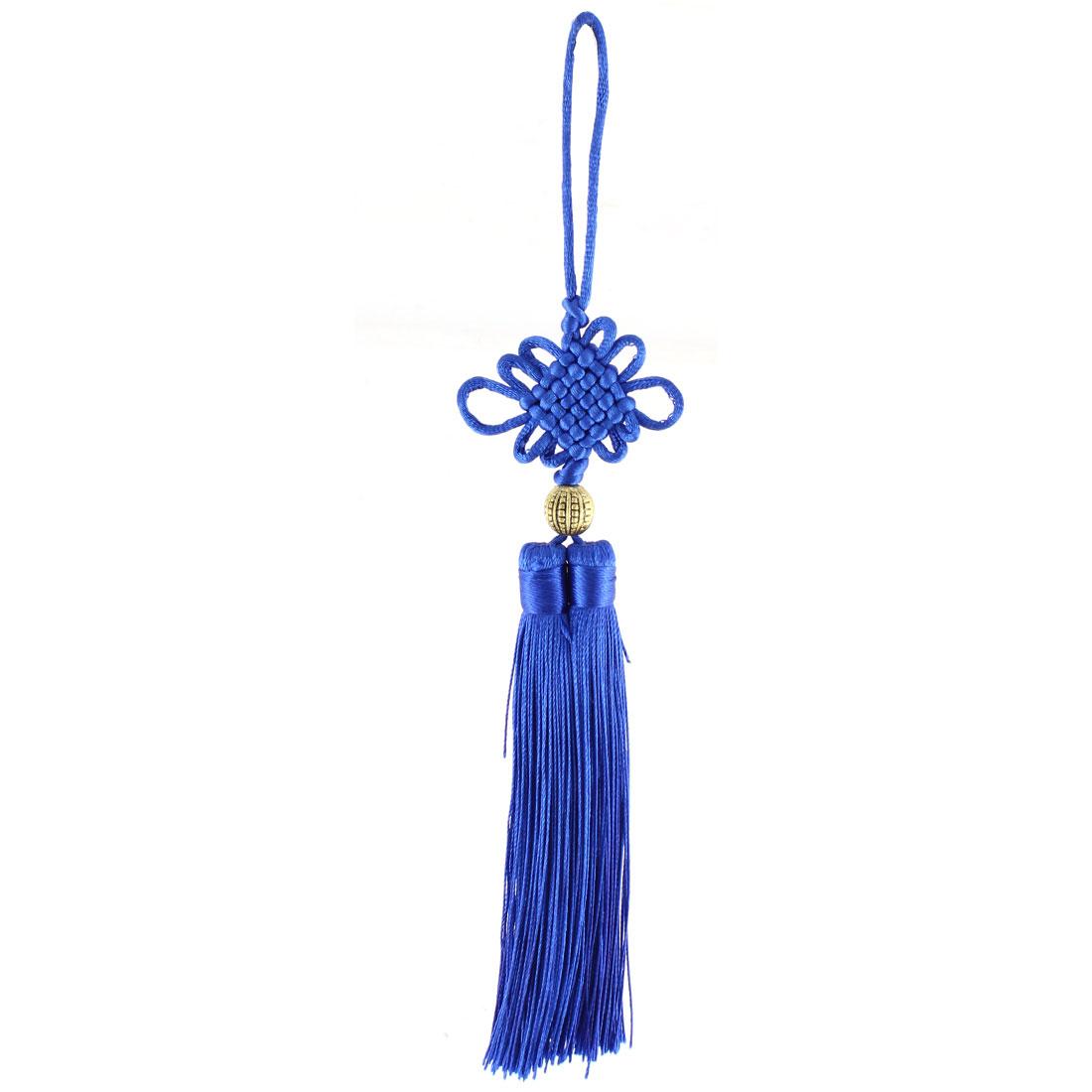 Nylon Handmade Double Tassel Chinese Knot Hanging Decor Blue