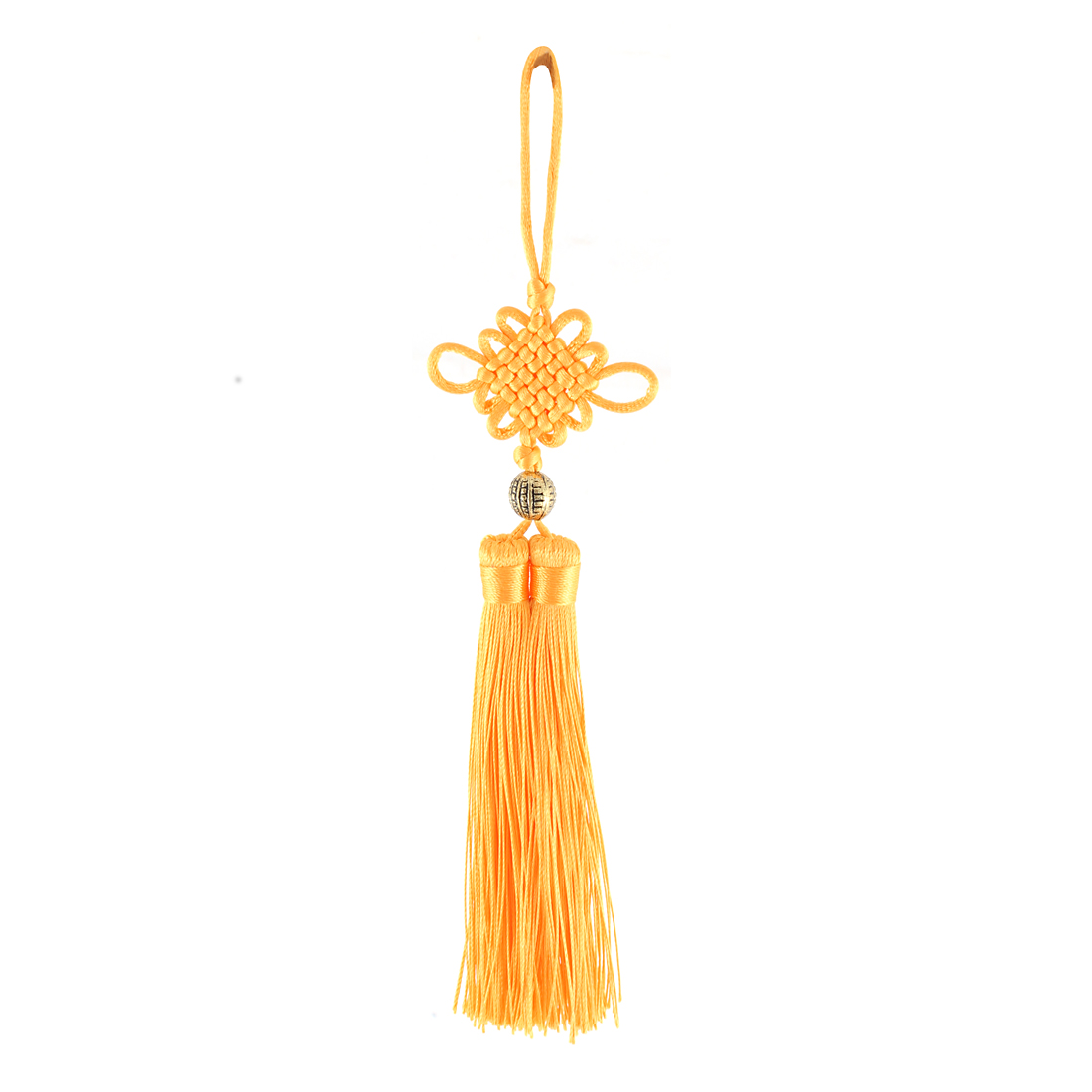 Yellow Nylon Braid Tassel Decor Chinese Knot Hanging Ornament