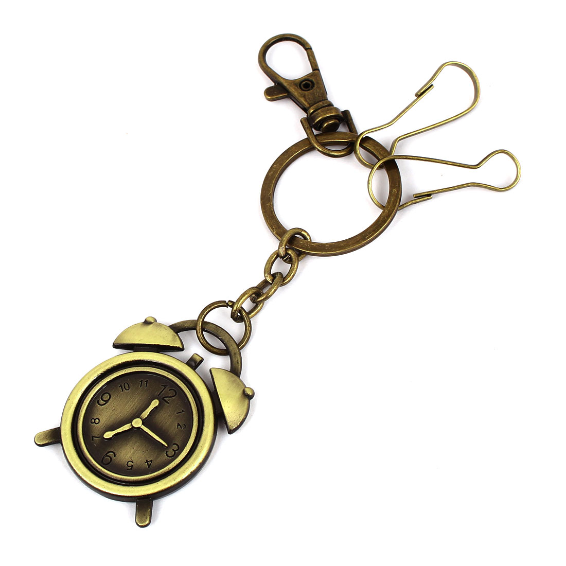 Metal Alarm Clock Model Keyring Keychain Bag Pendant Bronze Tone