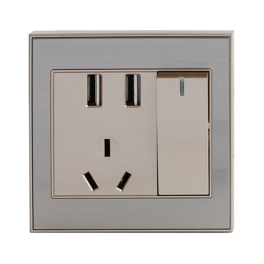 250V AU Outlet 2 USB Ports Outlet Power Wall Switch Socket Plate Panel Champagne Gold