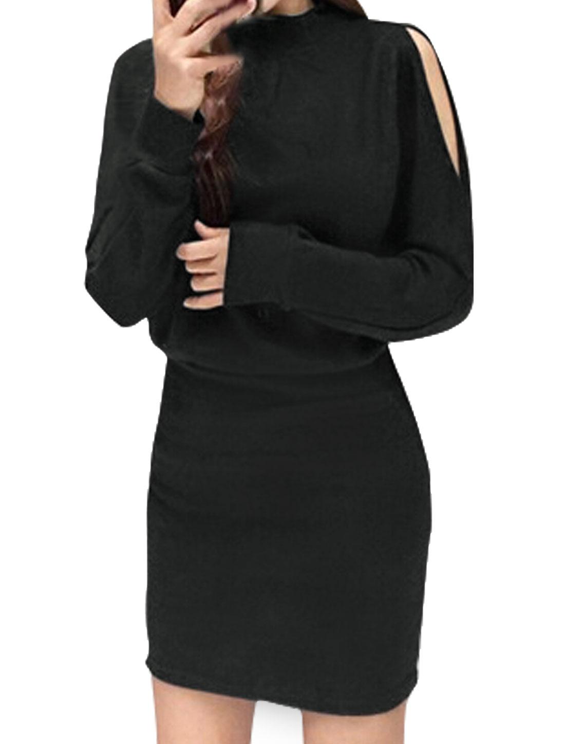 Women Mock Neck Split Batwing Sleeves Blouson Dress Black XS