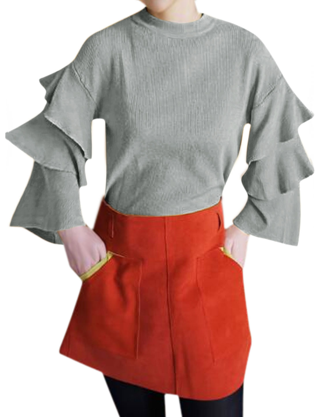 Women Crew Neck Tiered Sleeves Drop Shoulder Slim Fit Knit Top Gray S