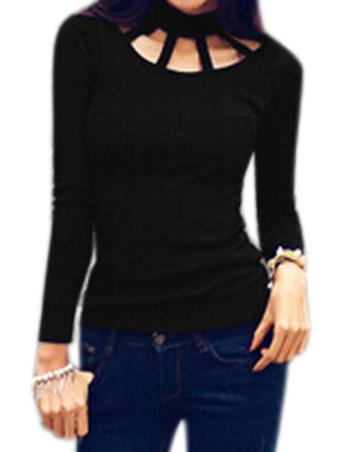 Women Long Sleeves Mock Neck Slim Fit Ribbed Cut Out Top Black XS