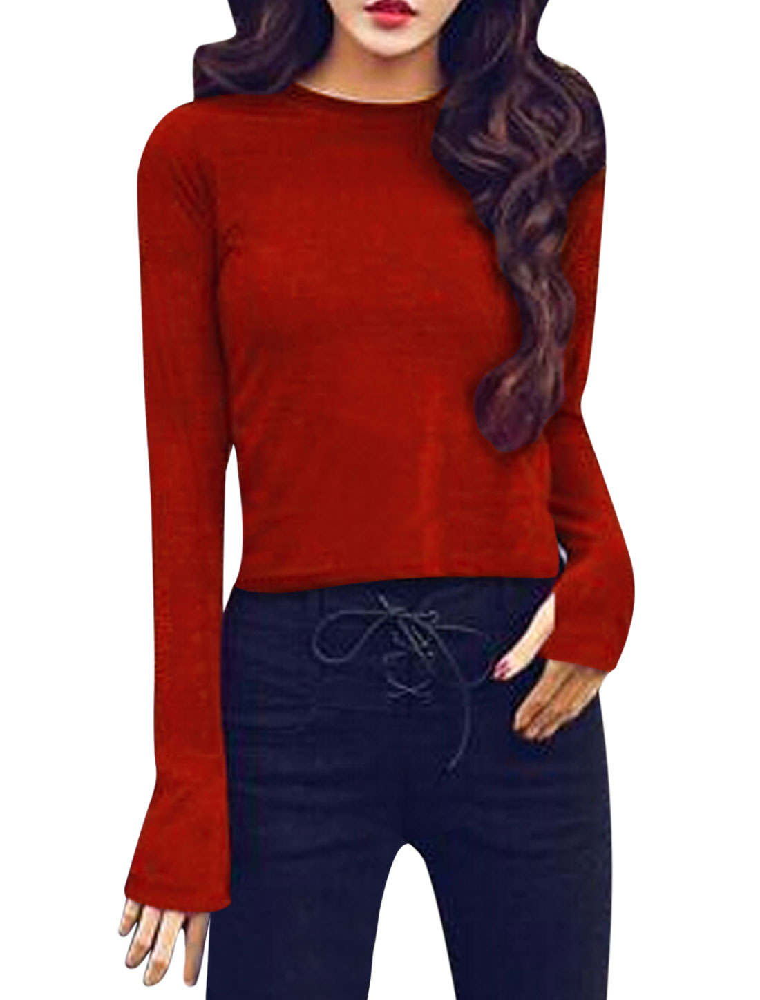 Women Crew Neck Long Sleeves Thumbhole Slim Fit Knit Shirt Red XS