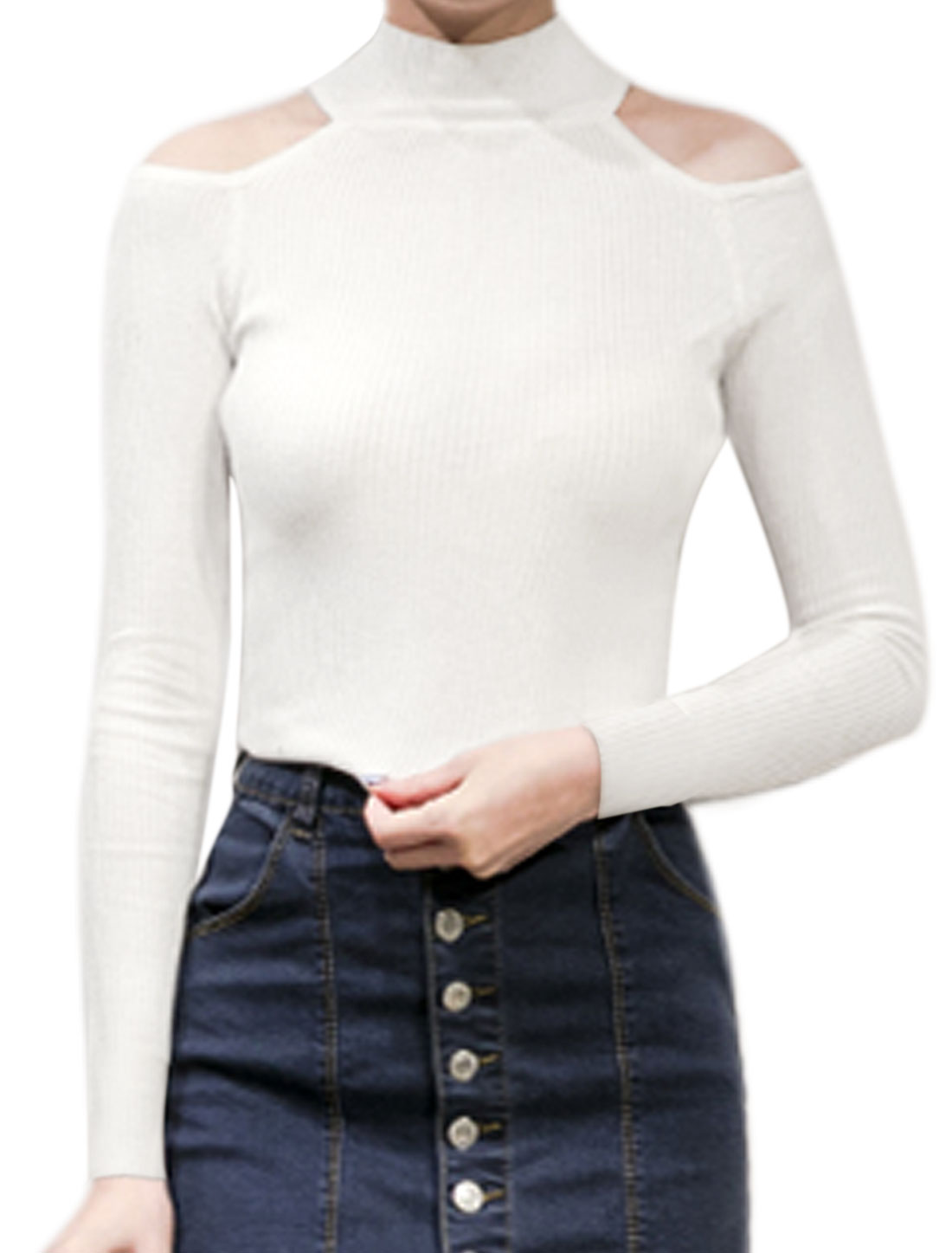 Women Mock Neck Cut Out Shoulder Slim Fit Ribbed Top White XS