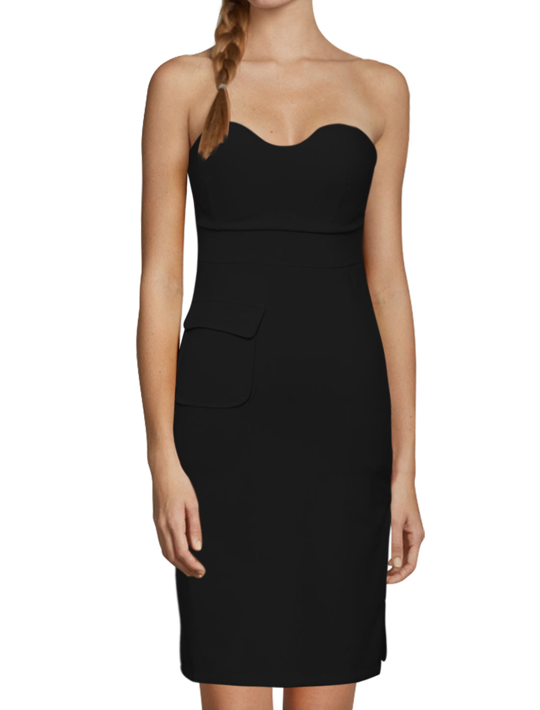 Women Sweetheart Neckline Flap Pocket Split Sides Strapless Dress Black XS