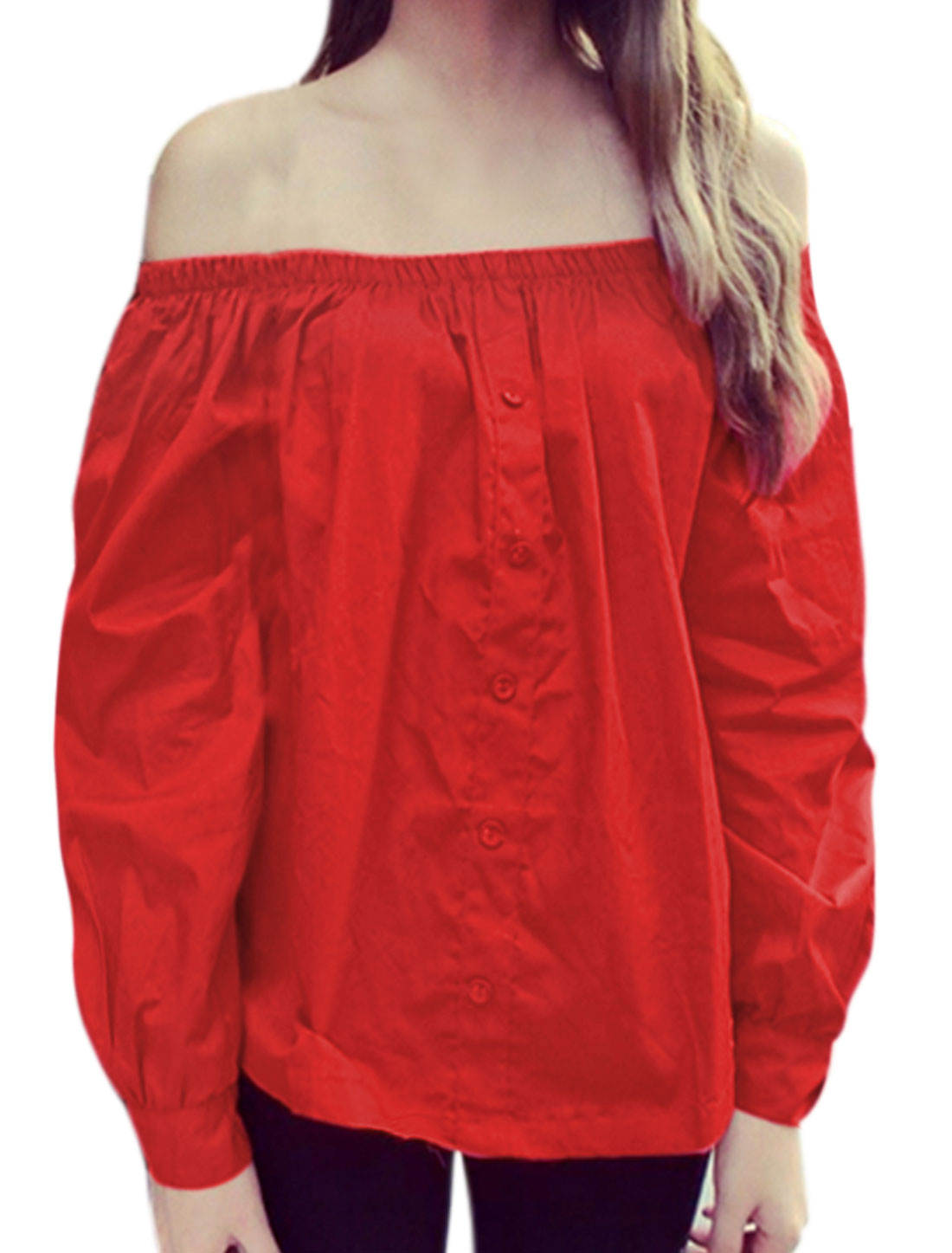 Women Off the Shoulder Elastic Upper Loose Blouse Red XS