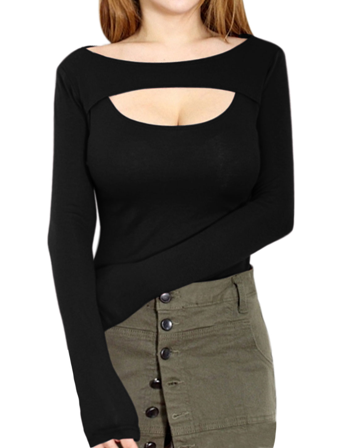 Women Long Sleeves Boat Neck Slim Fit Cut Out Top Black XS