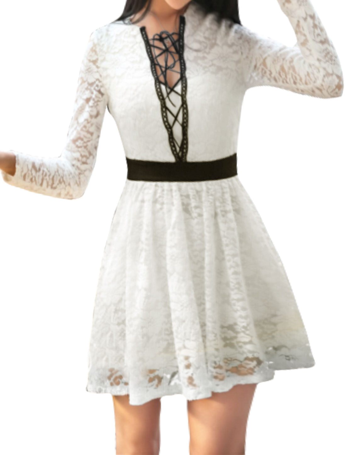 Women Long Sleeves Lace-Up Layered Lace A Line Dress White XS