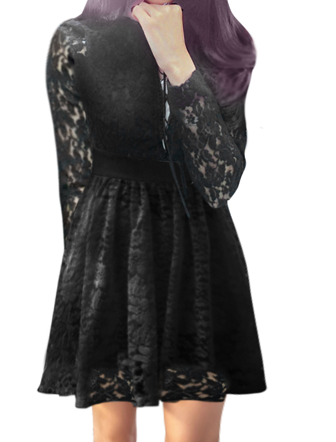 Women Long Sleeves Lace-Up Layered Lace A Line Dress Black XS