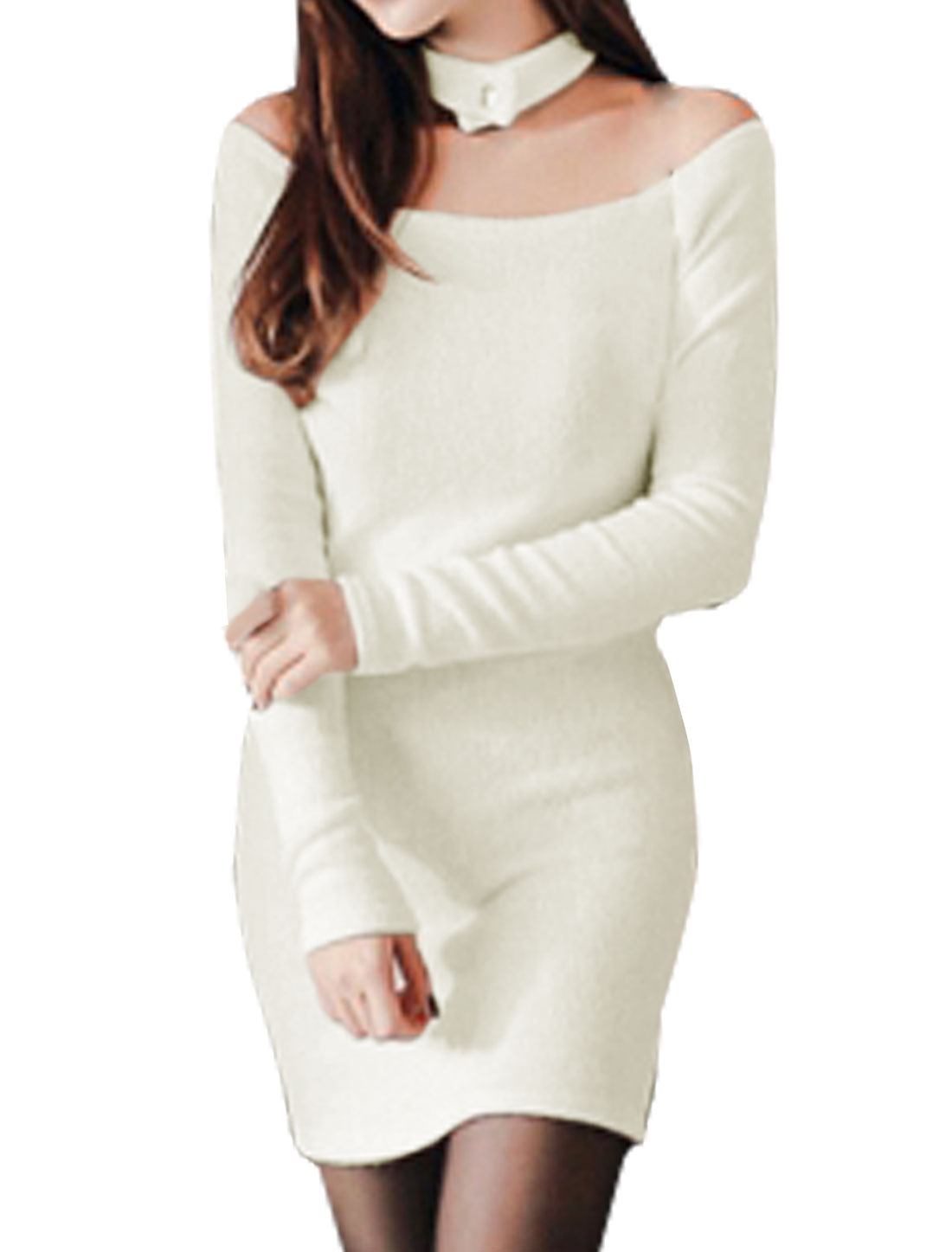 Women Halter Neck Off Shoulder Ribbed Bodycon Dress White XS