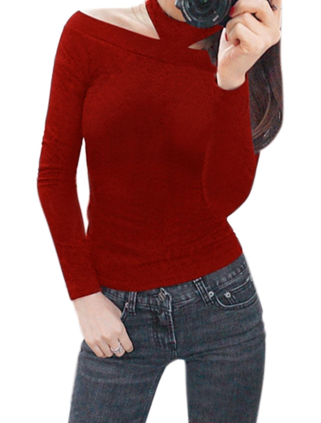 Women Long Sleeves Off Shoulder Slim Fit Halter Top Red XS