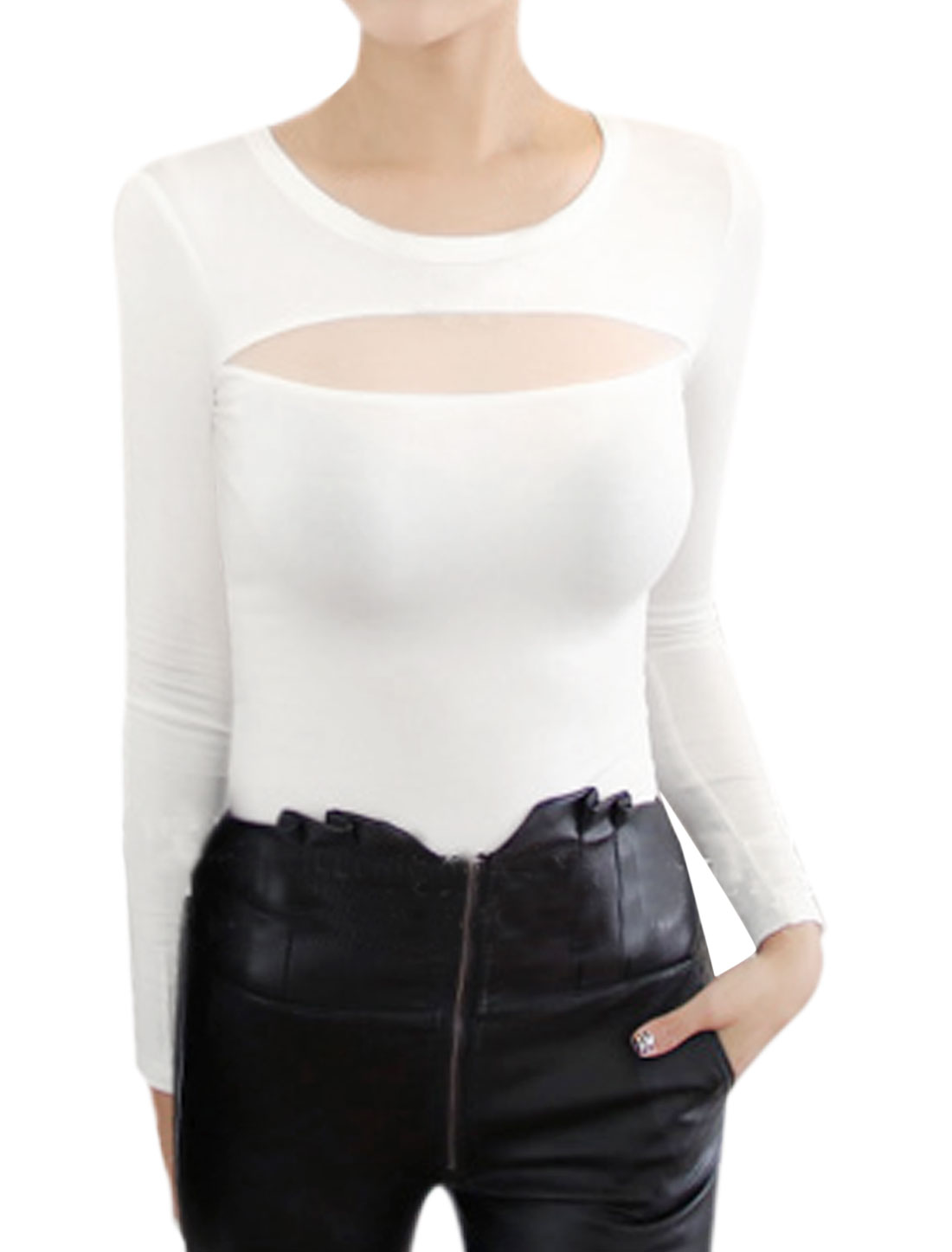 Woman Crew Neck Long Sleeves Mesh Panel Slim Fit Top White XS