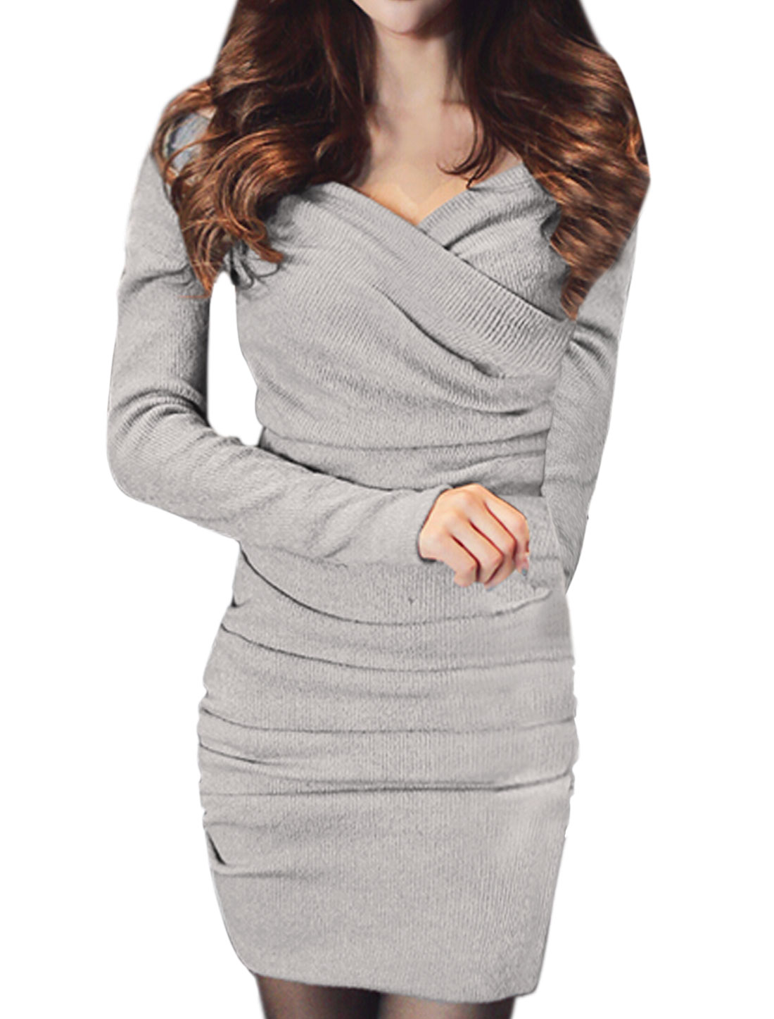 Woman Off Shoulder Long Sleeves Ruched Wrap Knit Dress Gray XS