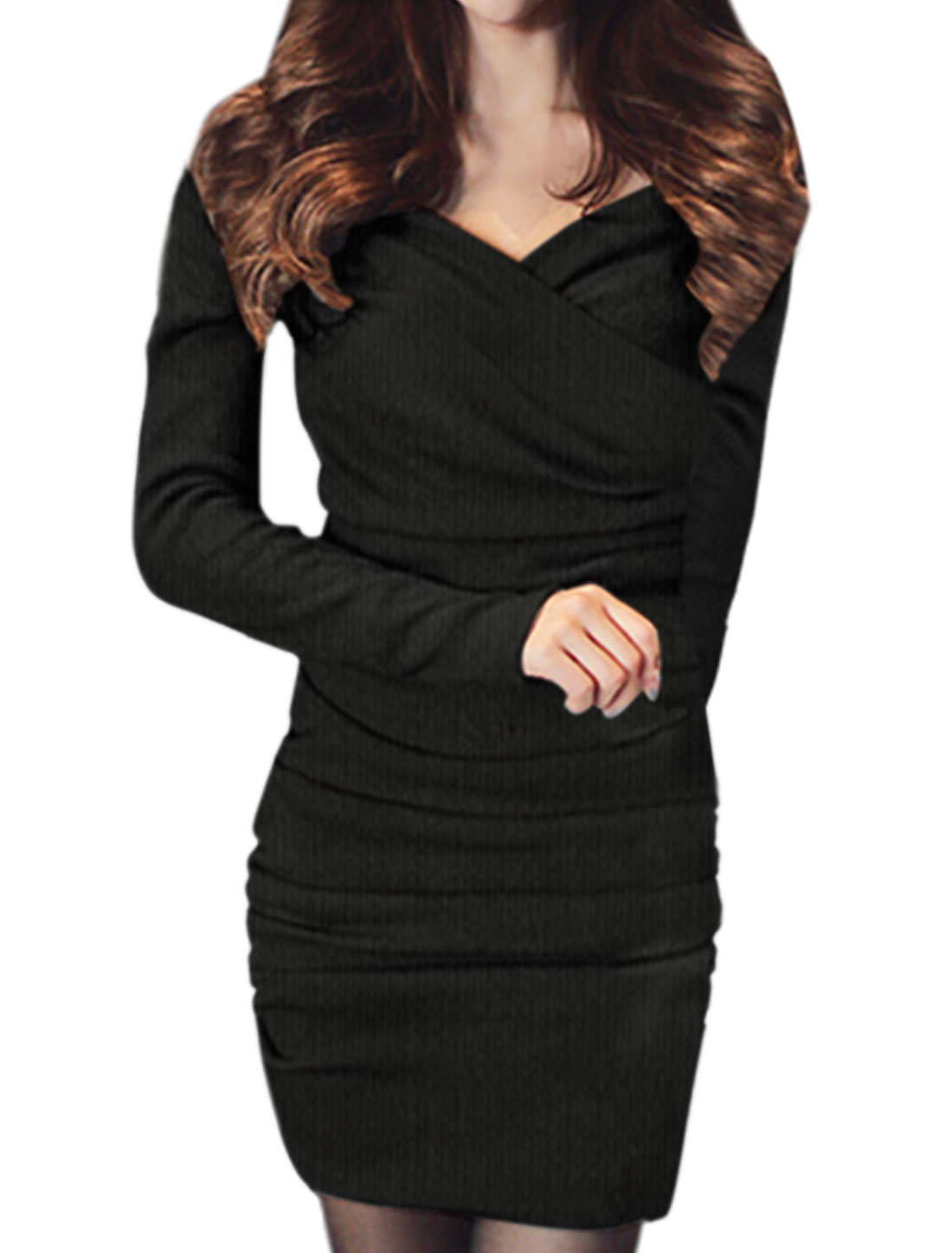 Woman Off Shoulder Long Sleeves Ruched Wrap Knit Dress Black XS