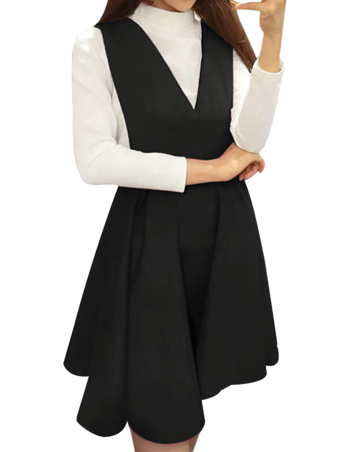 Lady Ribbed Top w Flared Pleated Suspender Dress Sets White Black XS