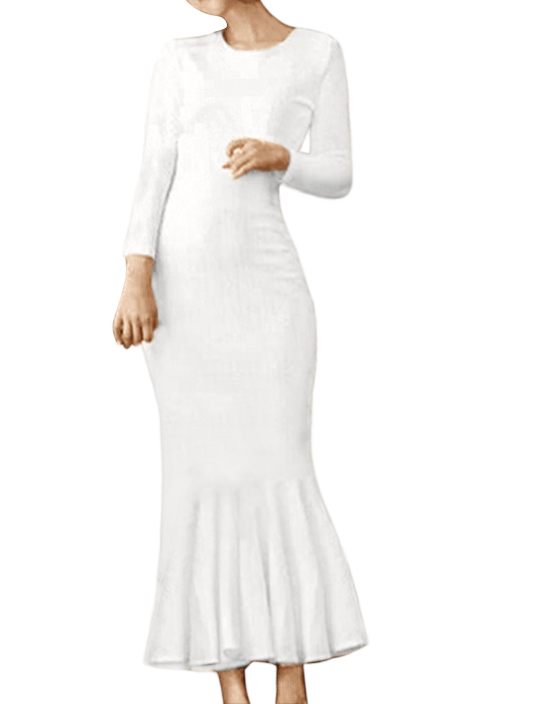 Women Long Sleeves Flouncing Hem Embossed Midi Dress White XS