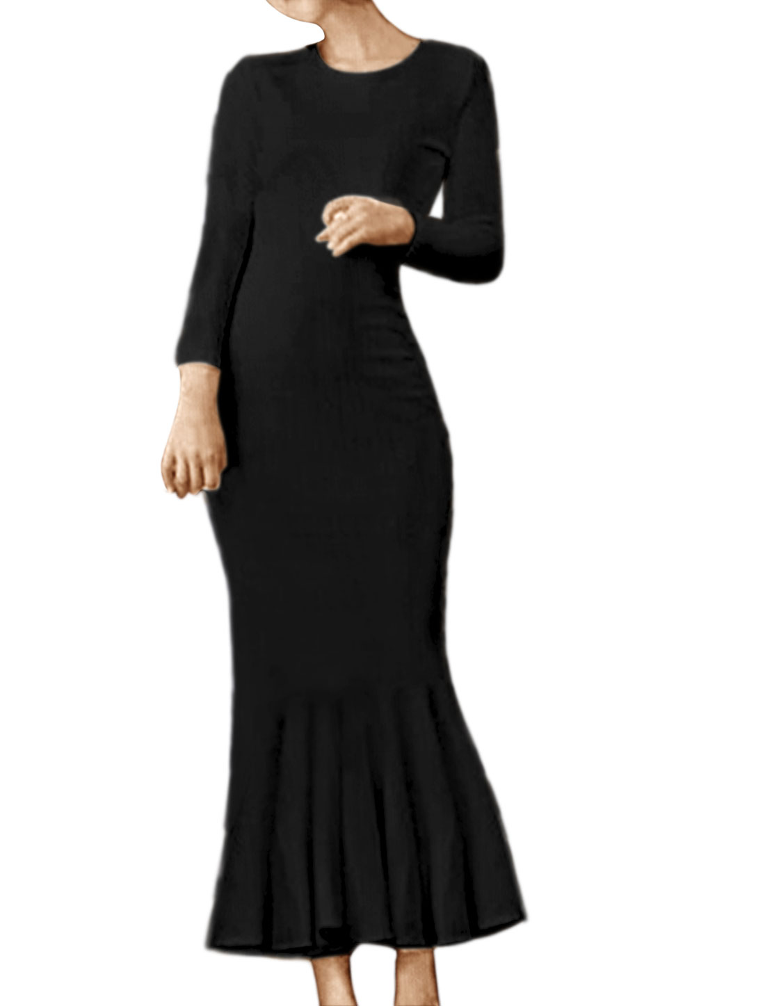 Women Long Sleeves Flouncing Hem Embossed Midi Dress Black XS