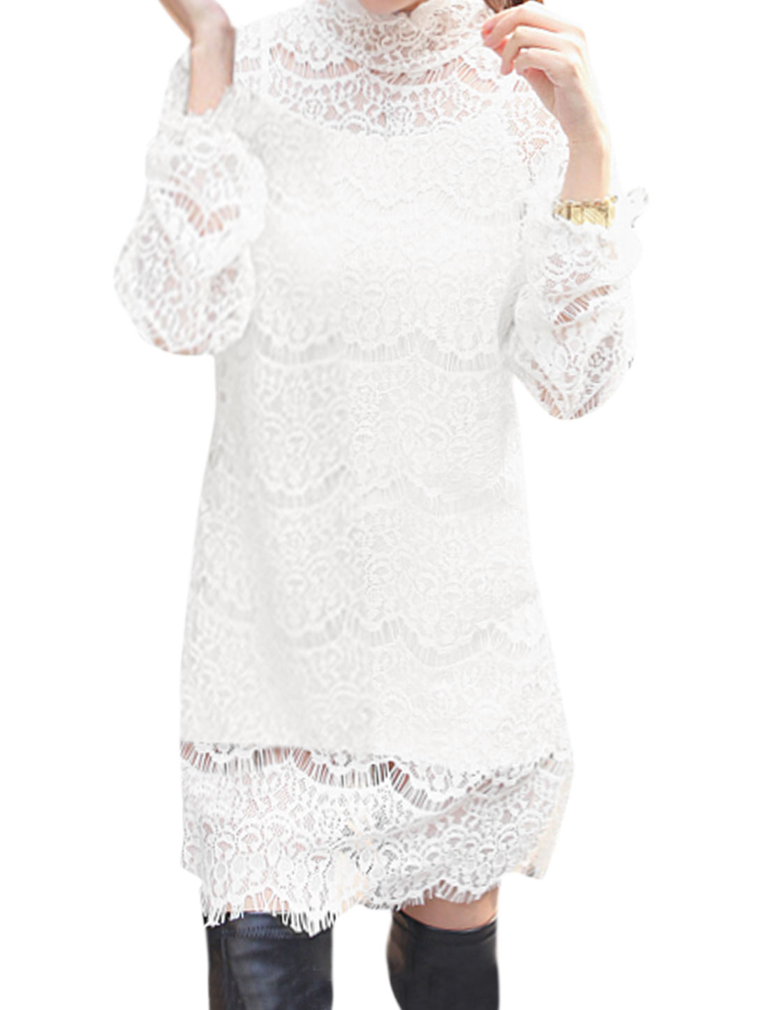 Women Slim Fit Cami w Hollow Out Lace Tunic Top Sets White XS