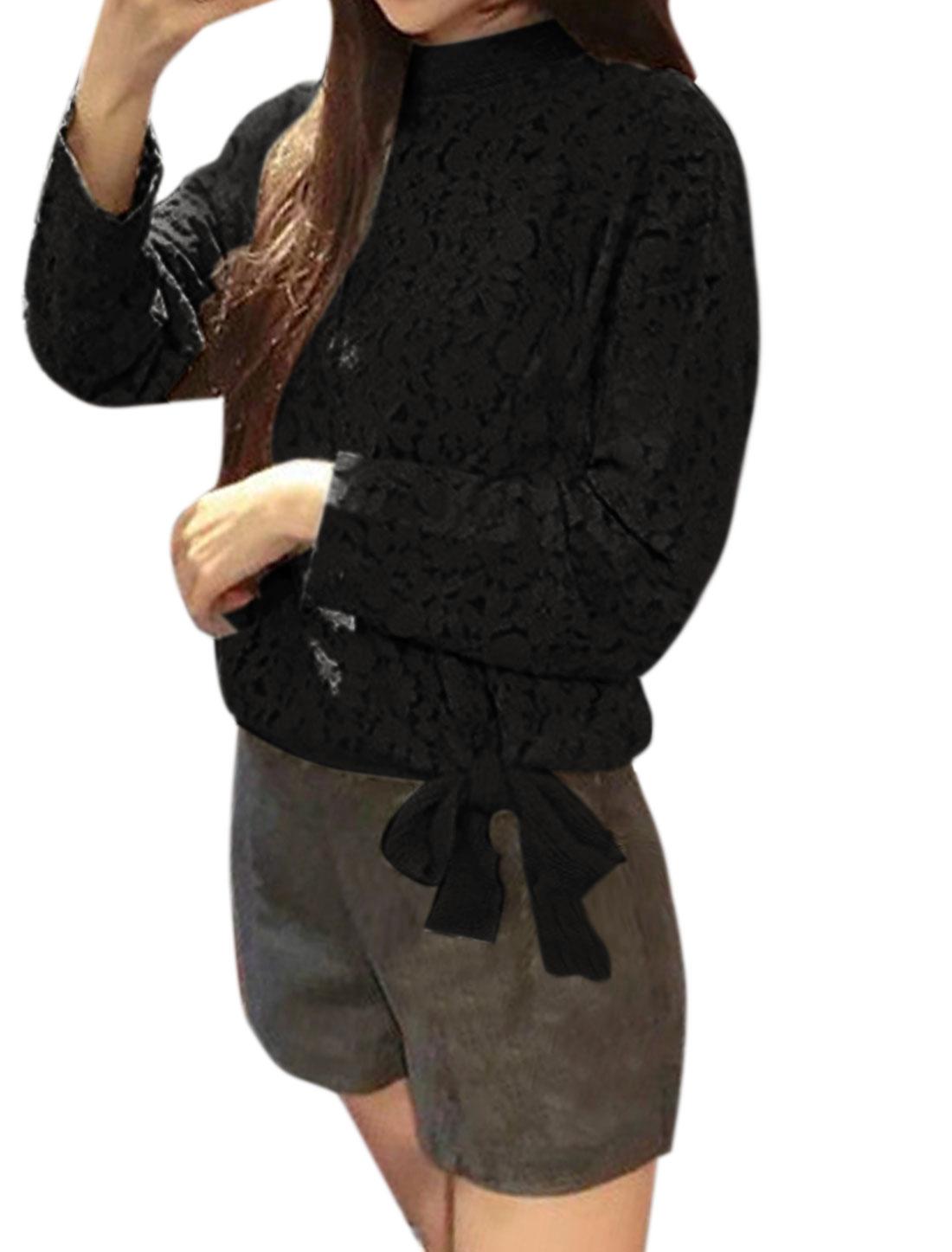 Ladies Mock Neck Floral Lace Self Tie Hem Blouse Black XS