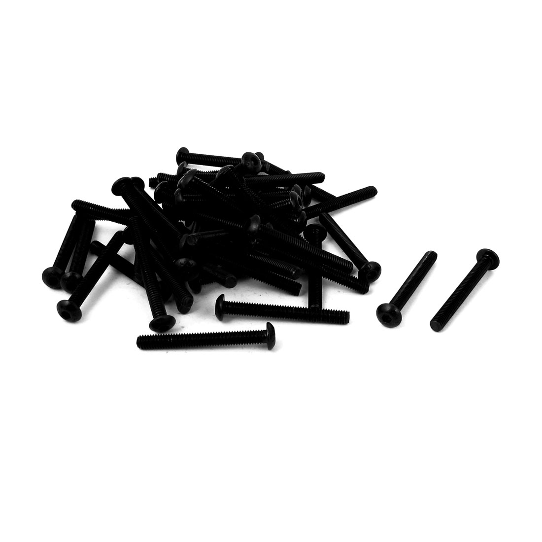 M4x35mm 10.9 Alloy Steel Button Head Hex Socket Cap Screw Bolt Black 50pcs
