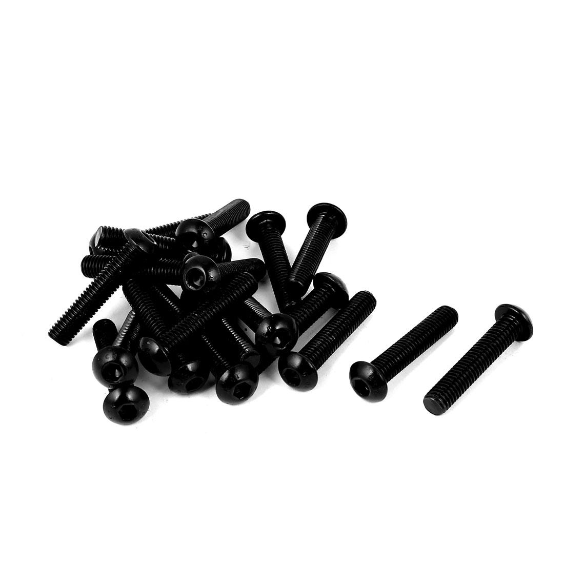 M8x40mm 10.9 Alloy Steel Button Head Hex Socket Cap Screw Bolt Black 20pcs