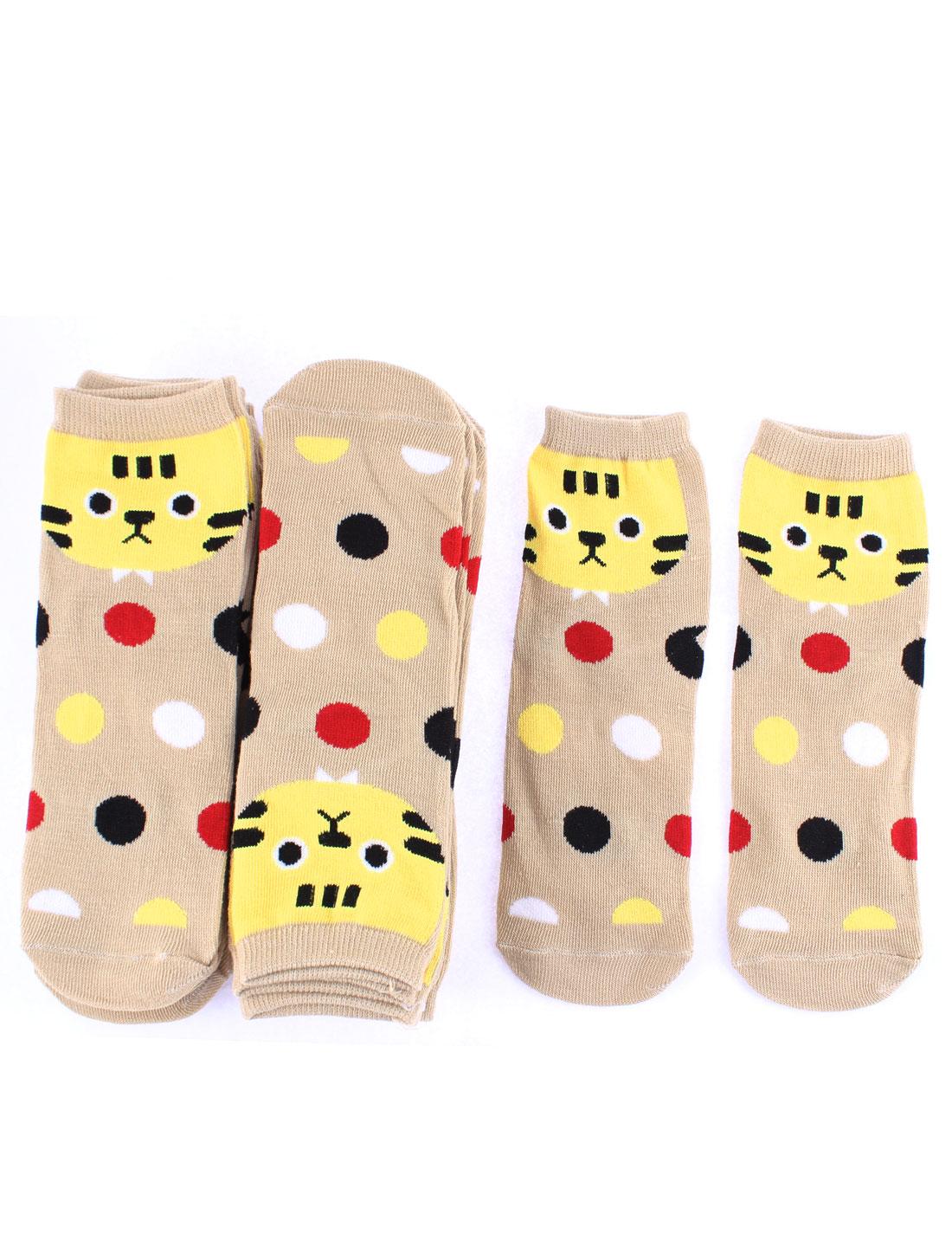 Woman Cotton Blends Cat Dots Pattern Elastic Casual Socks Khaki 10 Pairs