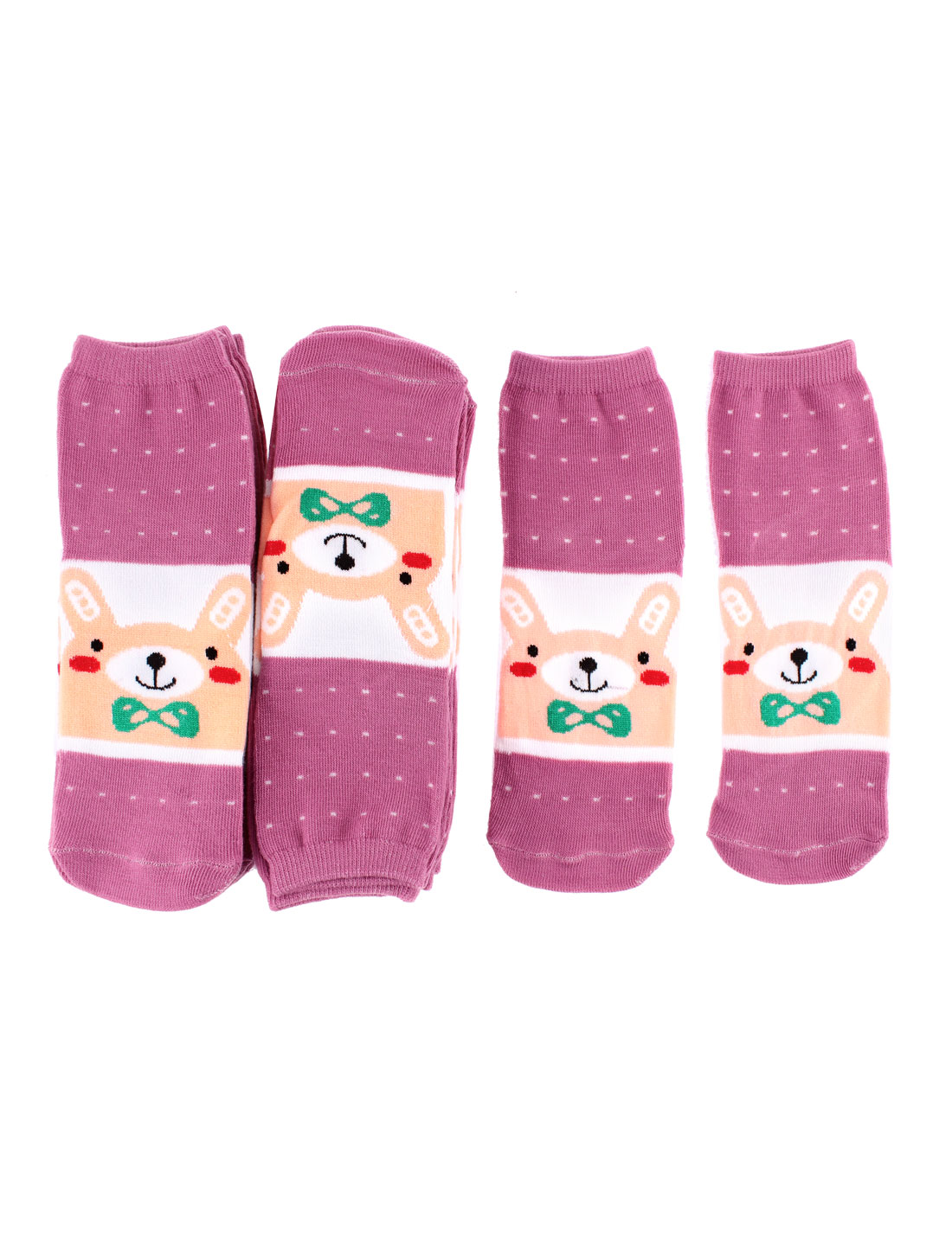 Woman Cotton Blends Rabbit Pattern Elastic Cuff Ankle Casual Socks 10 Pairs