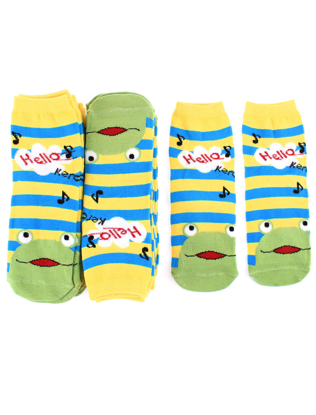 Woman Frog Stripe Pattern Elastic Casual Cotton Blends Socks 10 Pairs