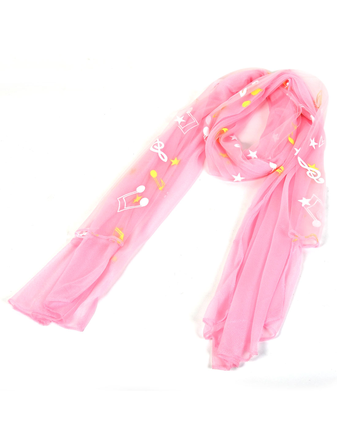 Lady Stars Music Note Pattern Dual Layers Scarf Shawl Wrap Stole Pink