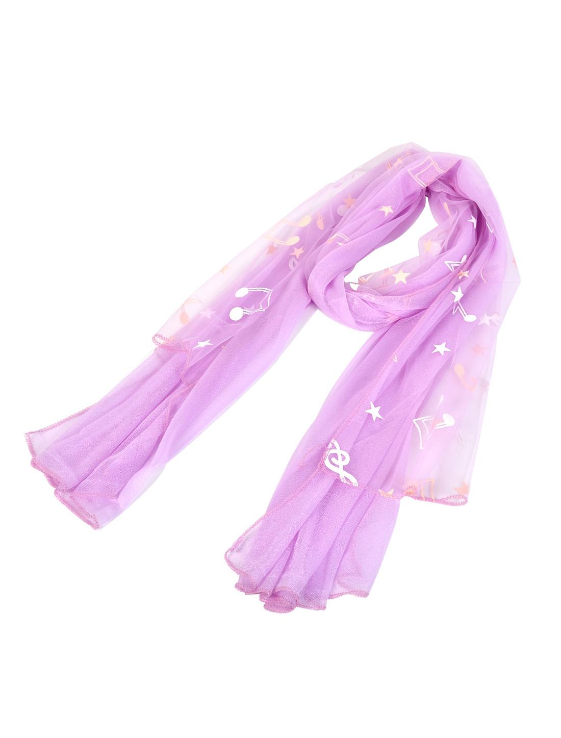 Lady Stars Music Note Pattern Dual Layers Scarf Shawl Wrap Stole Purple
