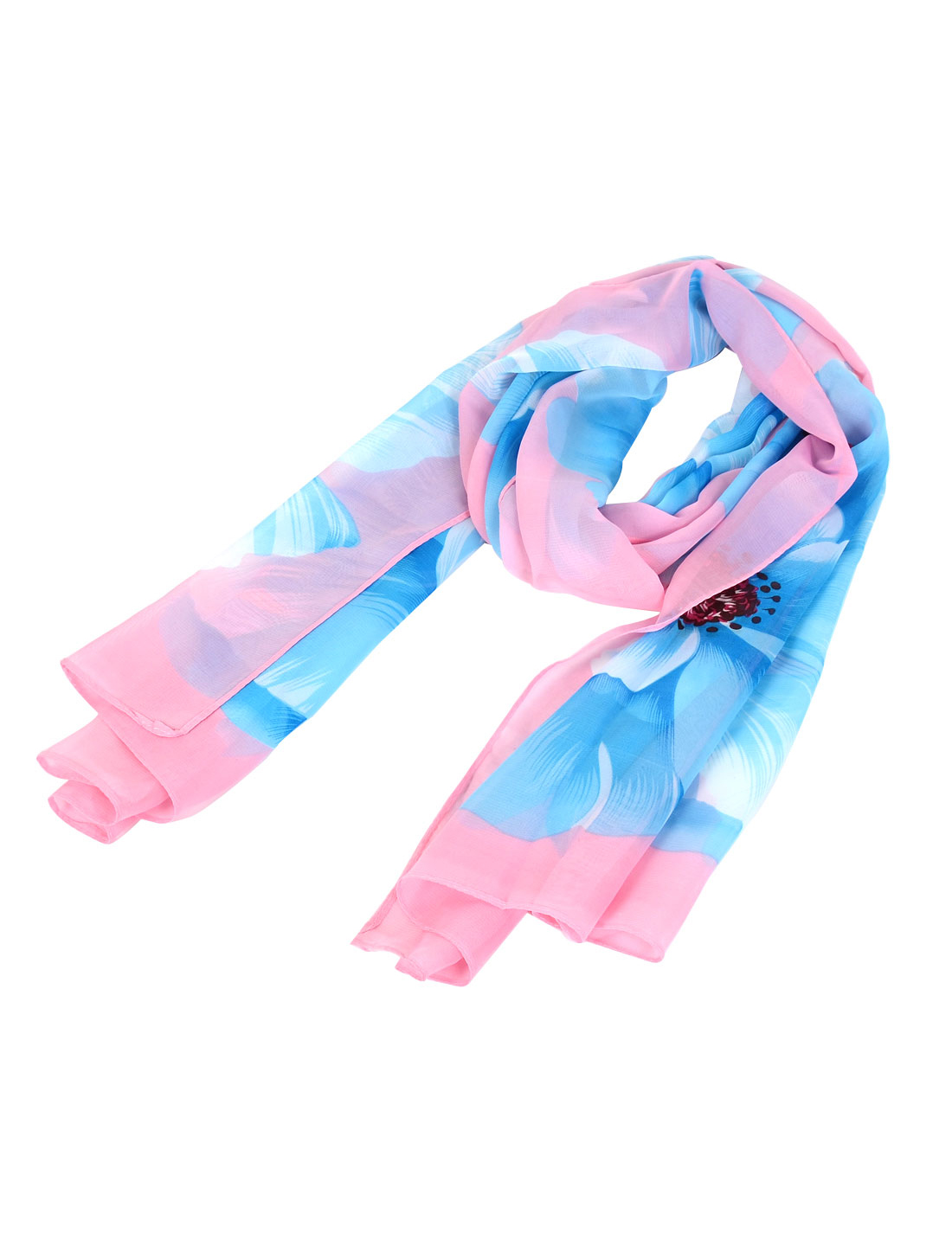 Woman Peony Pattern Chiffon Neck Scarf Shawl Wrap Stole Decoration Pink Blue