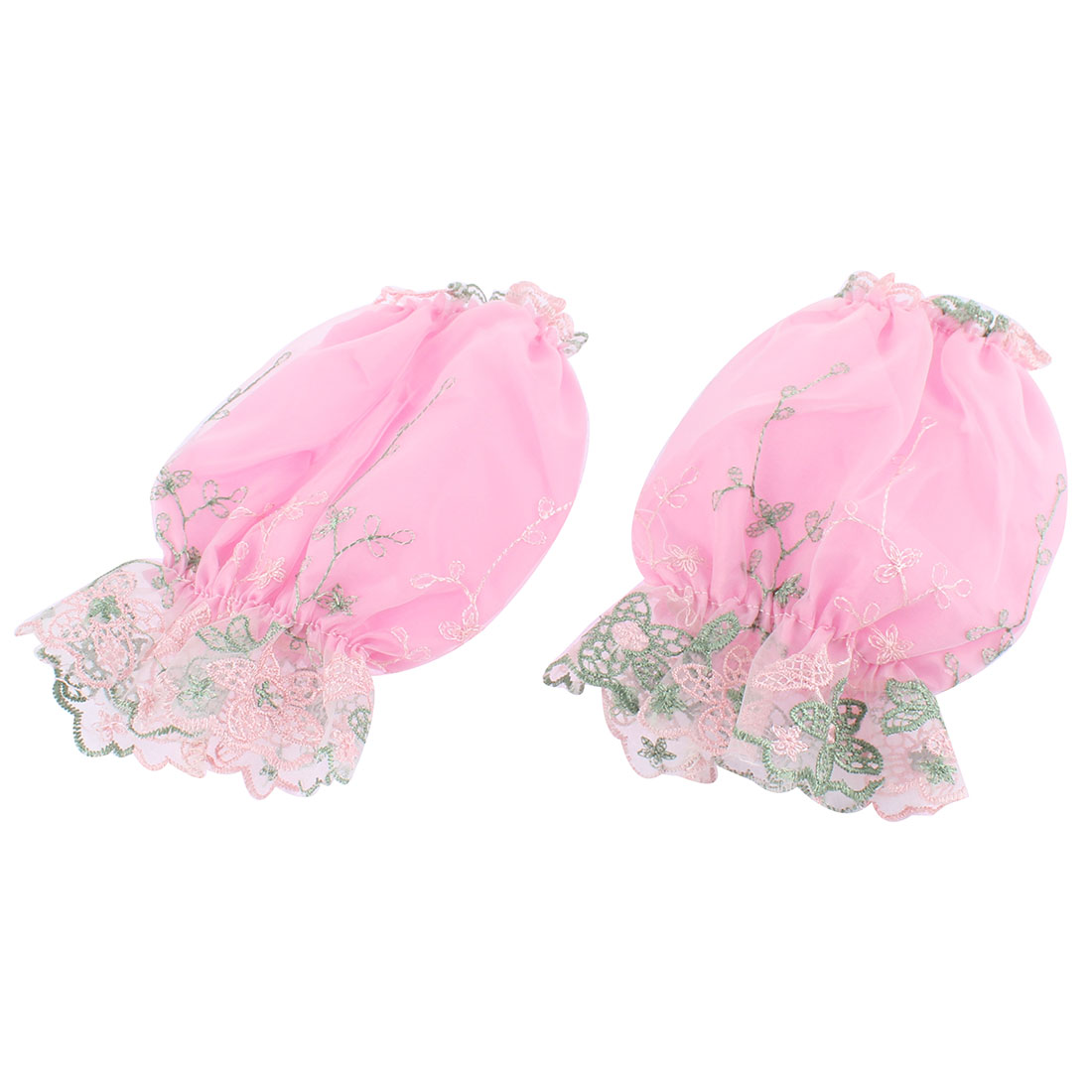 Woman Dual Layers Flower Embroidery Elastic Cuff Oversleeve Sleevelet Pink Pair