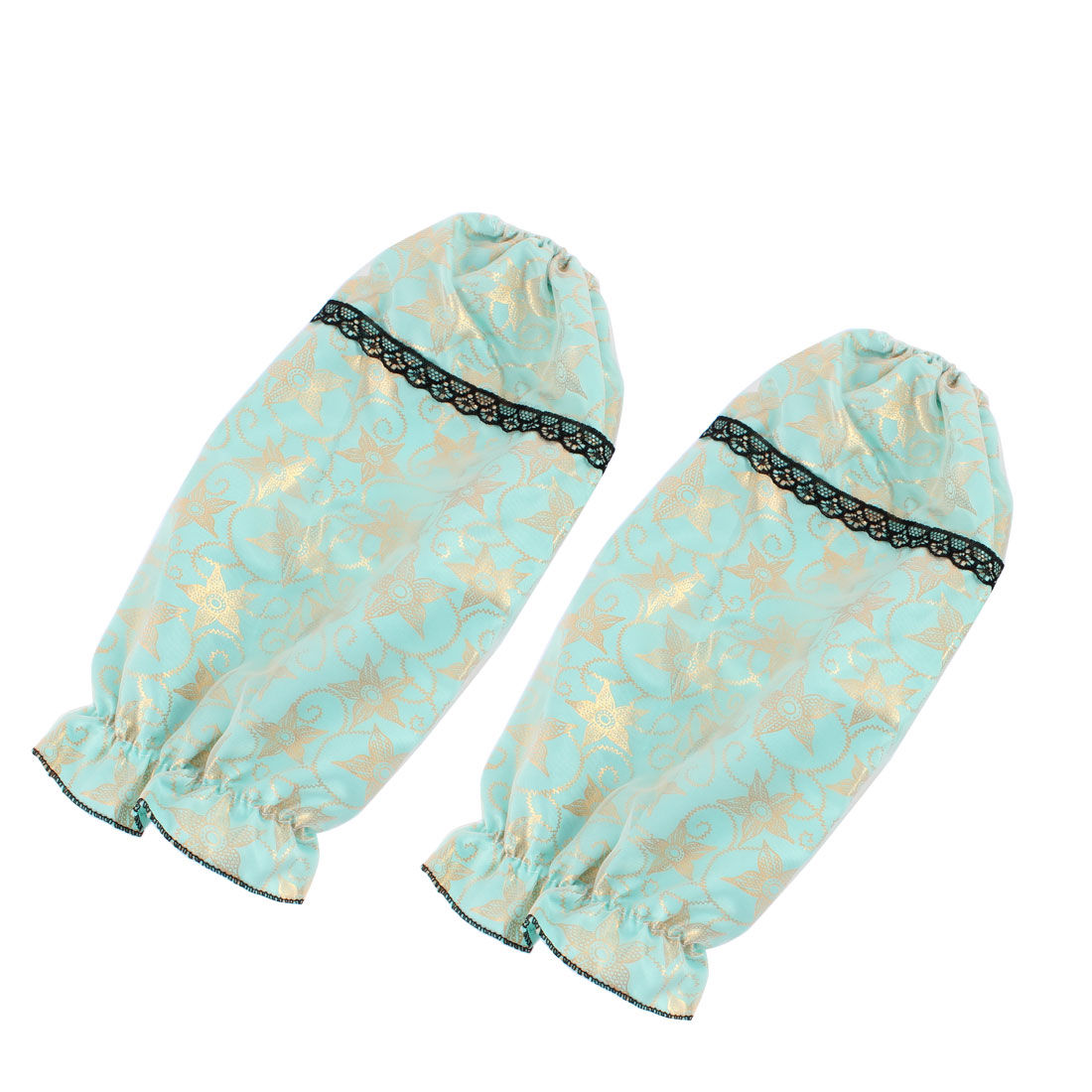Double Layers Flower Pattern Elastic Cuff Oversleeve Sleevelet Muff Cyan Pair
