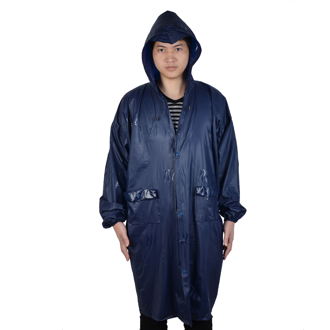 Outdoor Farmer Water Resistant Raincoat Rain Jacket Poncho Coat Dark Blue
