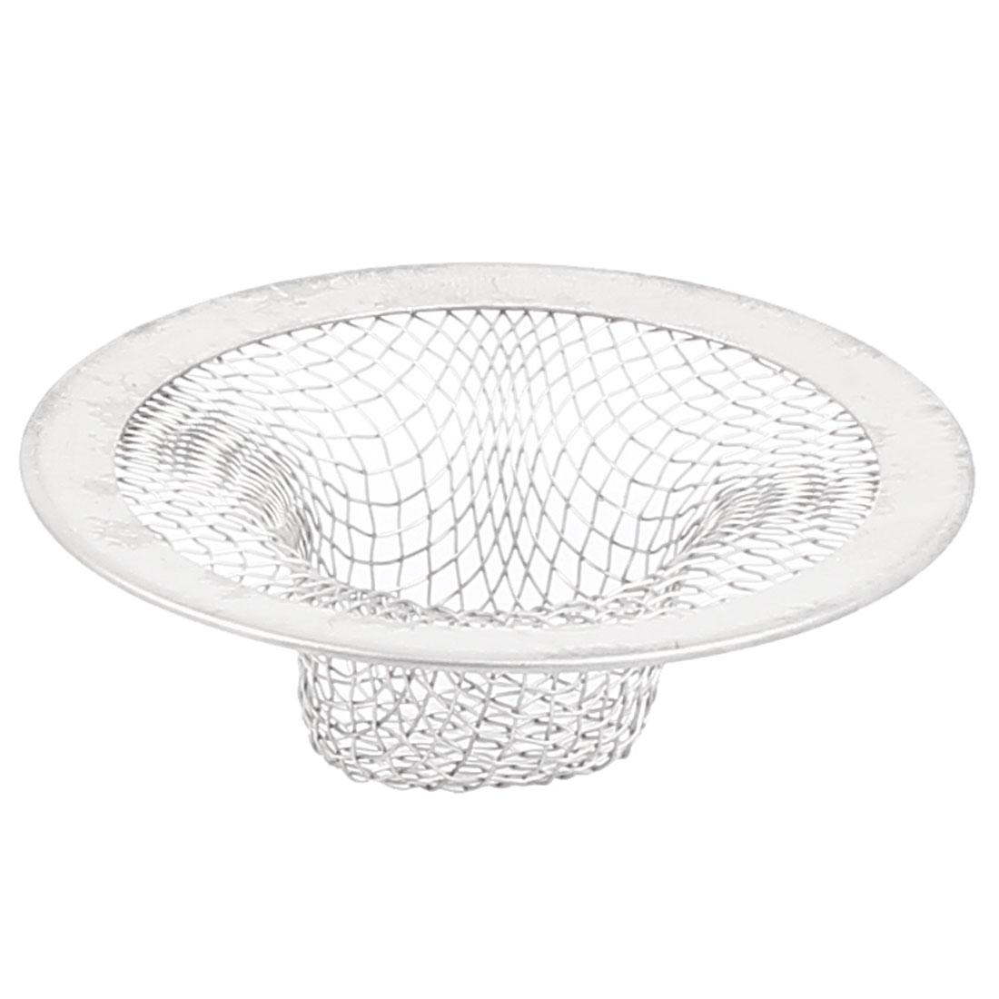 Kitchen Bath Basin Sink Strainer Mesh Filter Sieve Drain Net Silver Tone 55mm Diameter
