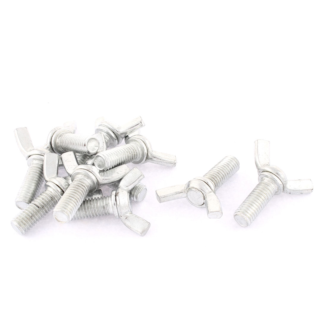 Metal Butterfly Screw Wing Bolts 7mm x 20mm Thread Silver Tone 10pcs