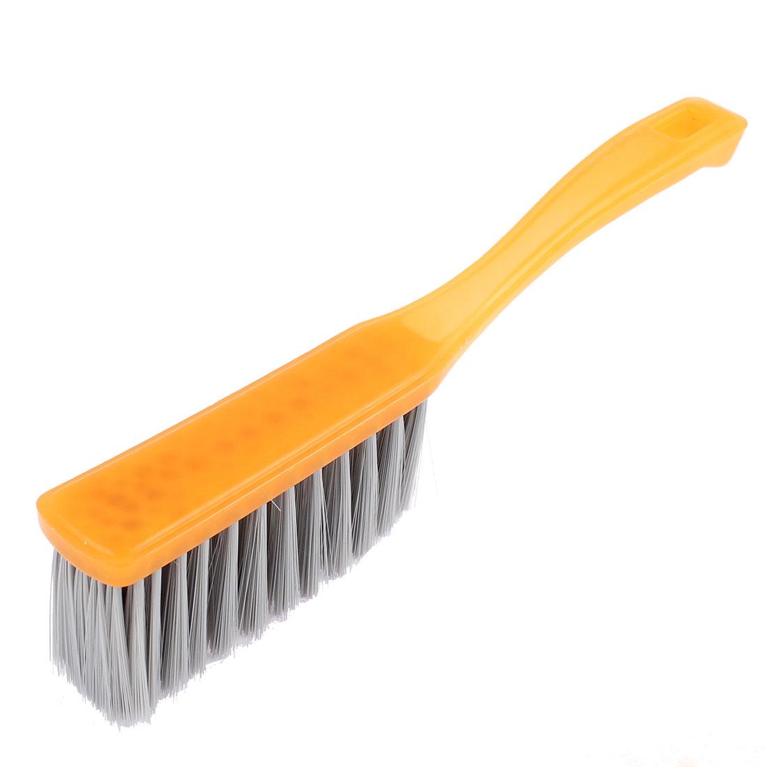 "Plastic Long Handle Hang Hole Scrubbing Brush Yellow 11"" Length"
