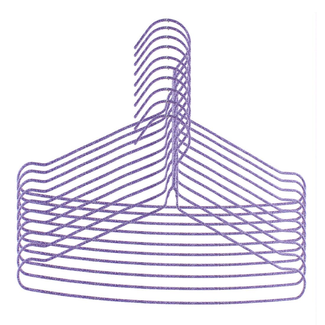 Steel Wire Tubular Plastic Coated Underwear Hanger Hook Purple 10 Pcs