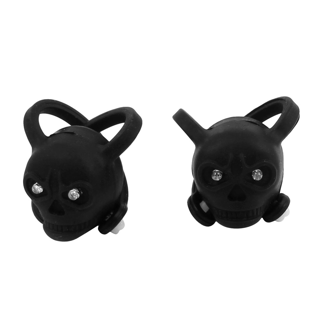 Bicycle Plastic Housing Skull Head Safety Rear Light Black 2pcs