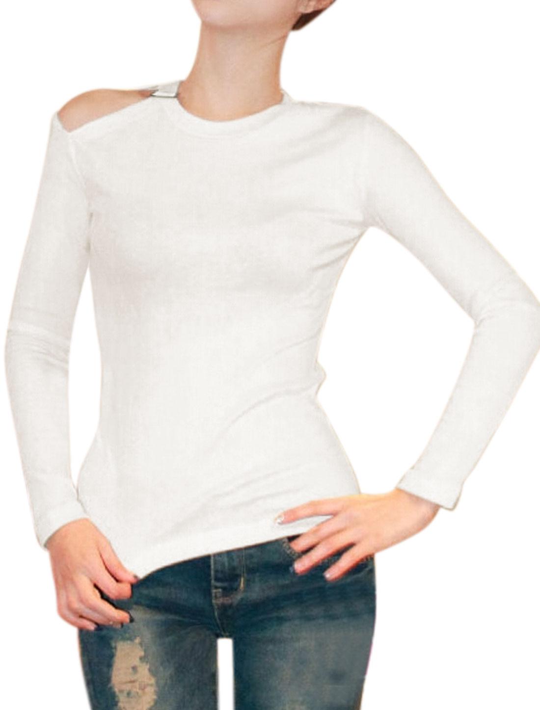 Women Cut Out Shoulder Buckle Decor Crew Neck Slim Fit Top White XS