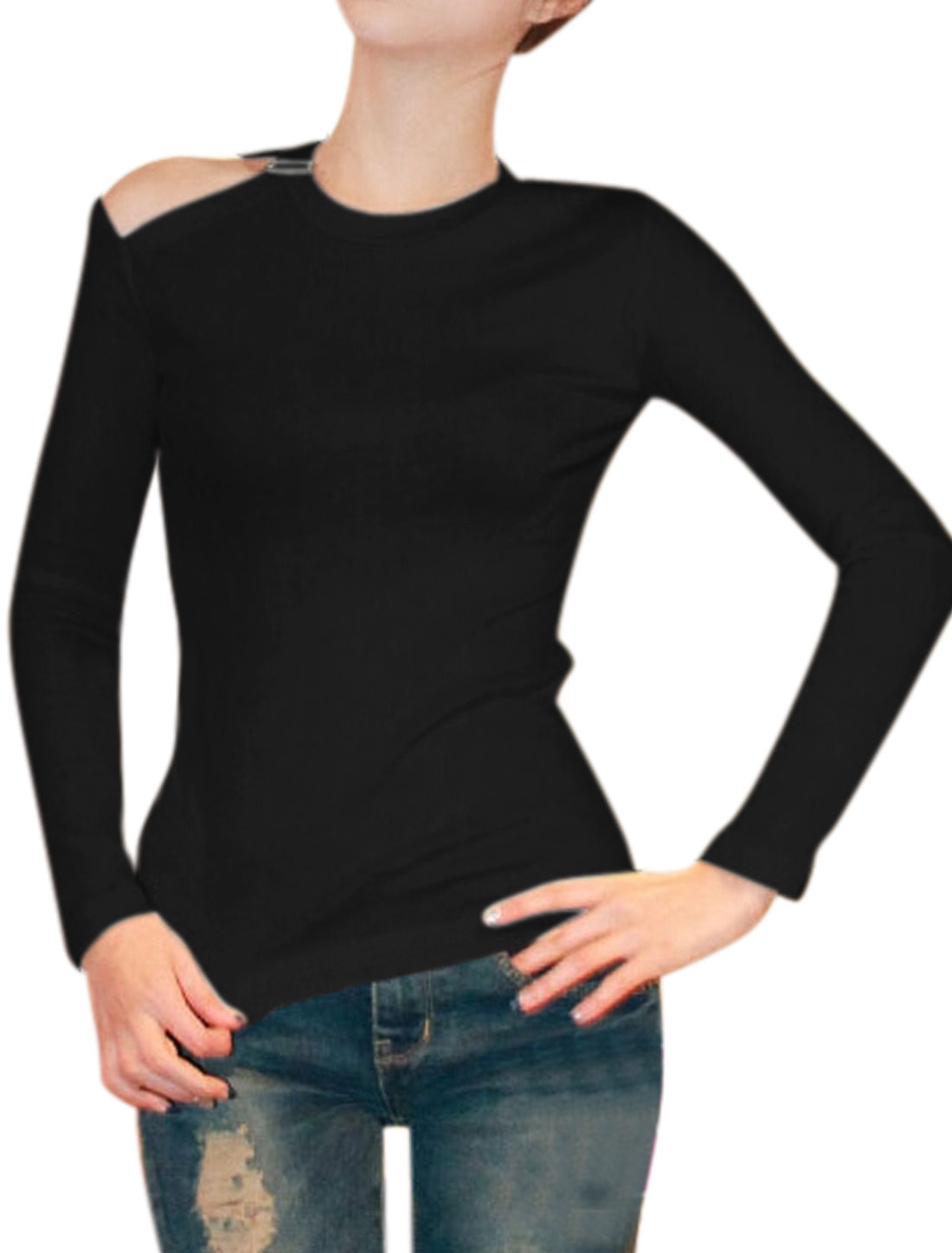 Women Cut Out Shoulder Buckle Decor Crew Neck Slim Fit Top Black XS