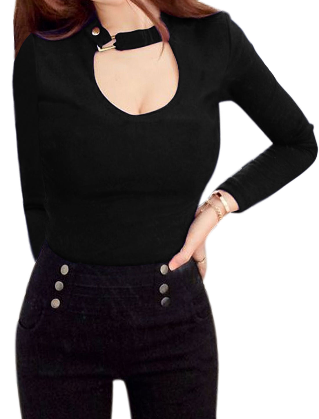 Women Buckled Collar Long Sleeves Slim Fit Cut Out Top Black XS