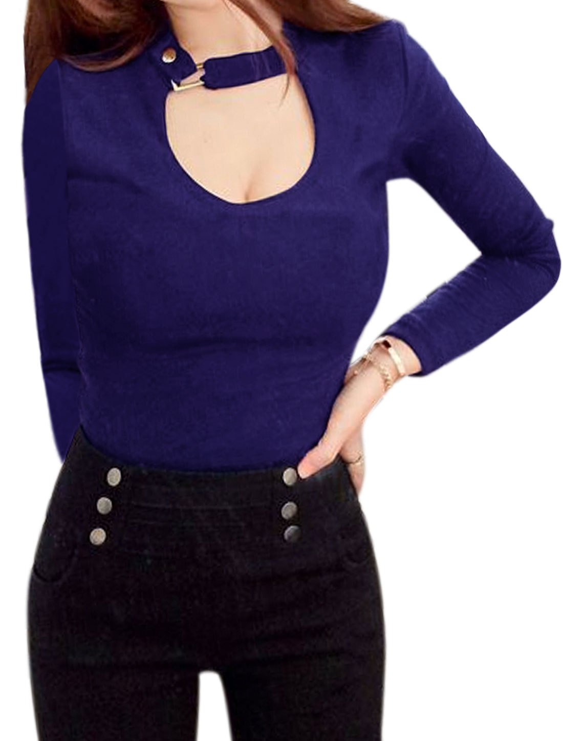 Women Buckled Collar Long Sleeves Slim Fit Cut Out Top Blue XS