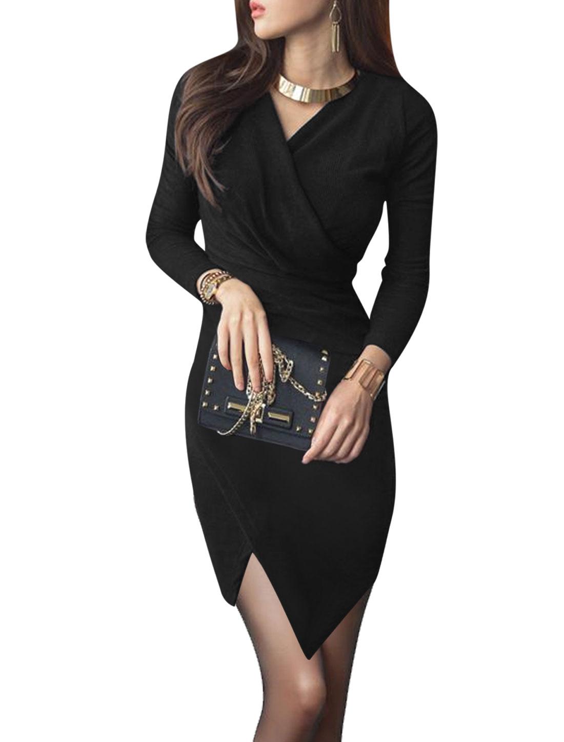 Women Long Sleeves Ruched Asymmetric Hem Bodycon Wrap Dress Black M