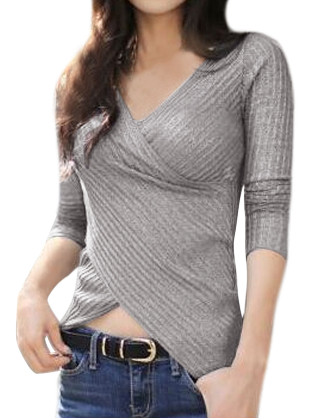 Ladies Crossover Front Ribbed Slim Fit Knit Shirt Gray S