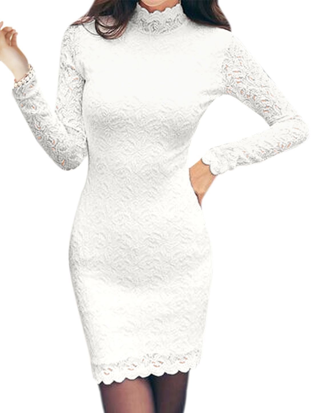 Women Mock Neck Long Sleeves Floral Lace Wiggle Dress White S