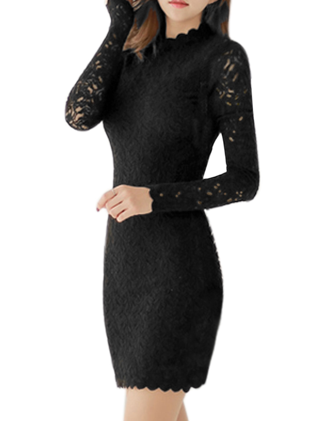 Women Mock Neck Long Sleeves Floral Lace Wiggle Dress Black S