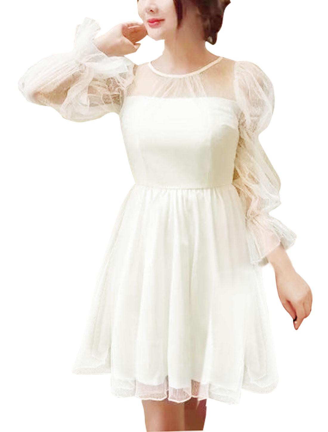 Women Semi Sheer Yoke Mesh Layered Mini A Line Dress White S